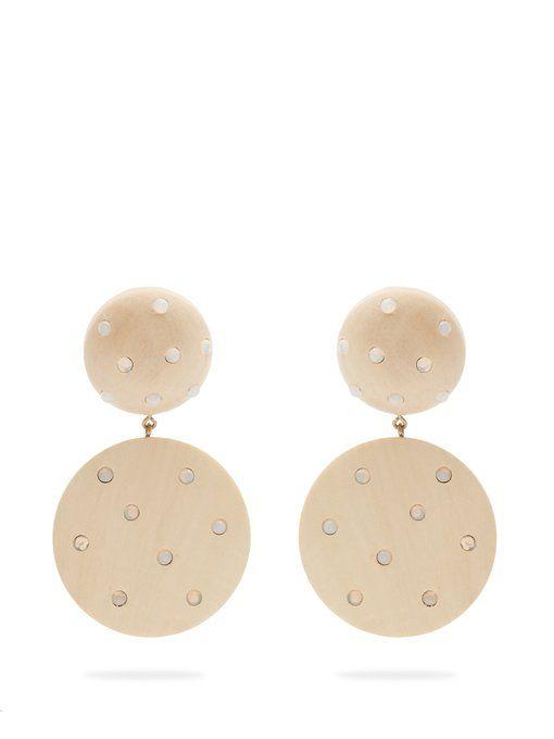 Three-drop wood clip-on earrings Rebecca de Ravenel G6w1fVaYj9