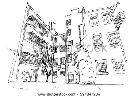 Vector Sketch Of Street Scene In Zagreb Croatia Trieste Vector Sketch Zagreb