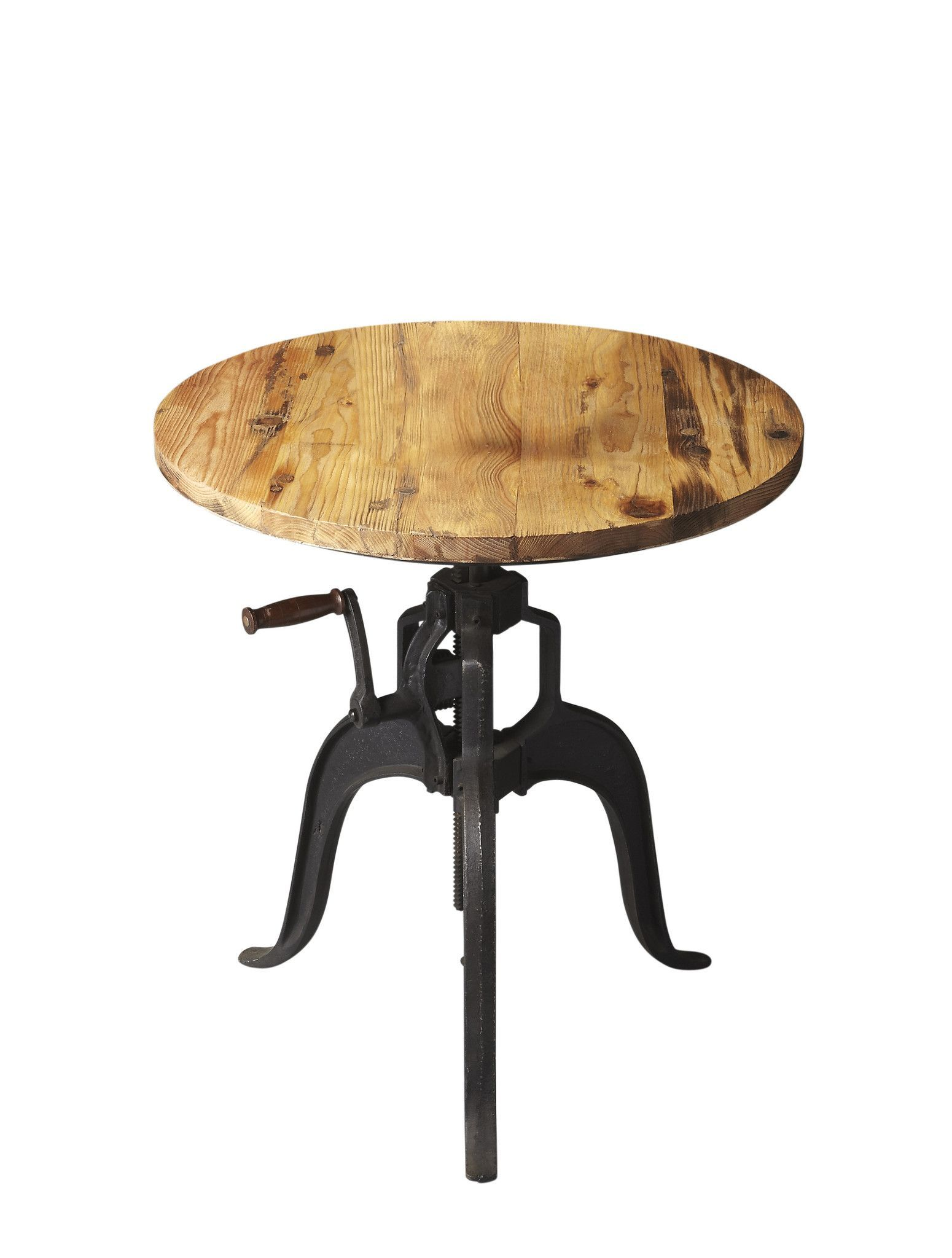 Industrial Chic Adjustable Crank Handle Foyer Table