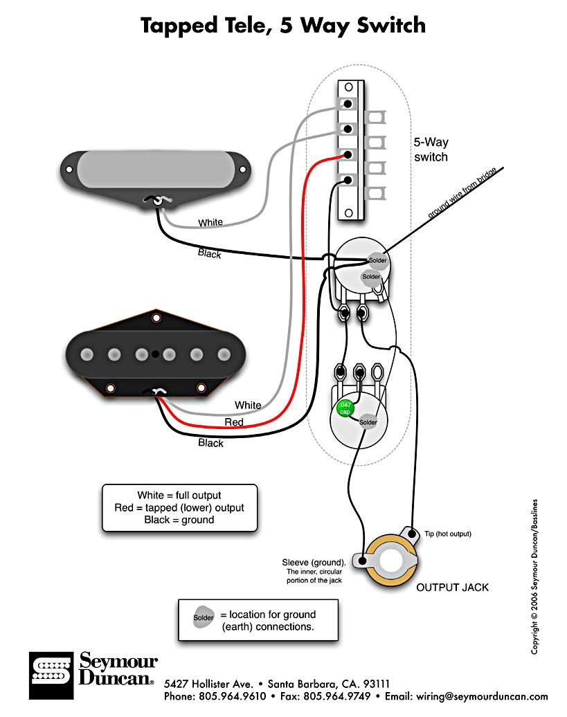Tele Wiring Diagram, tapped with a 5 way switch
