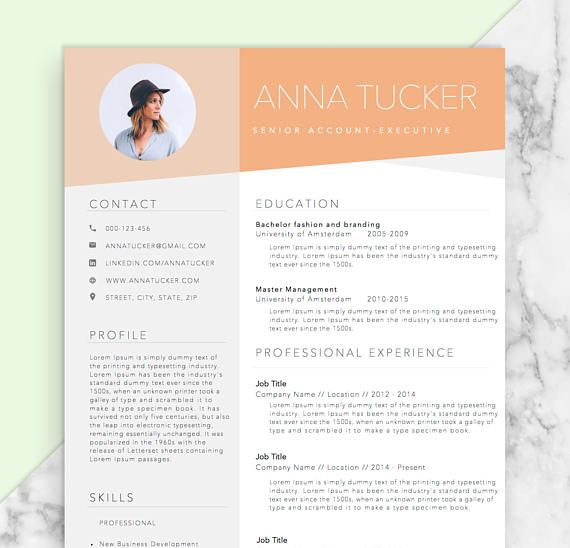 Resume Template + References Template for Word DIY Printable - eye catching resume