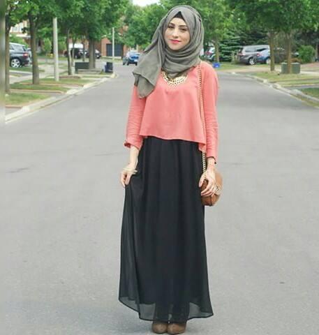 df3fe1b7cadc6 Loose crop top with skirt Muslim Fashion, Hijab Fashion, Fall Winter,  Autumn Fashion