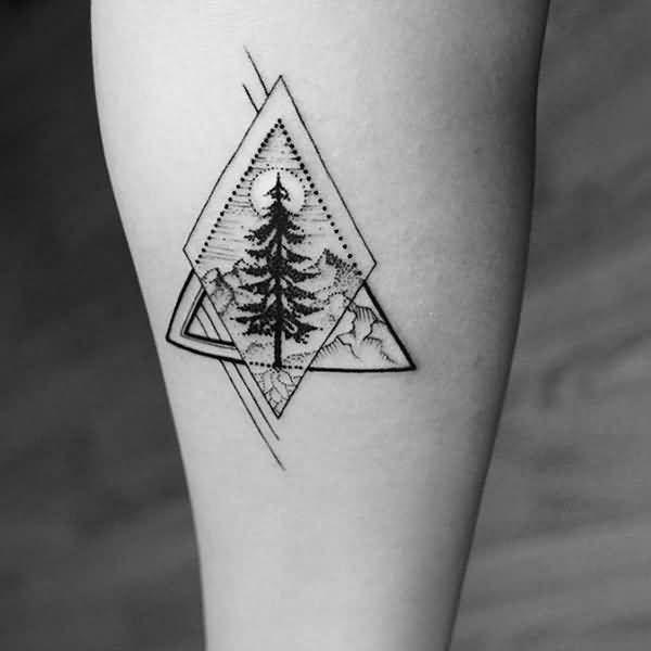 637af918136f7 Realistic Geometric Tree Tattoo Design …   tree ink   Forea…