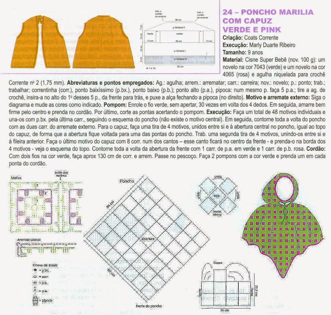 Poncho con capucha y flores infantil - Patrones Crochet | Crochet ...