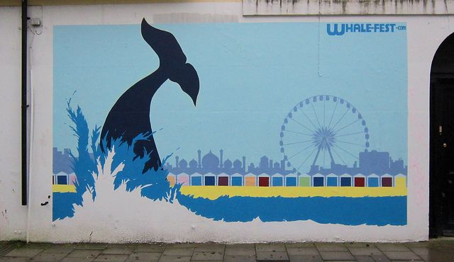 Brighton street-art / graffiti: Whale-fest.com by surreyblonde via Flickr (design featuring the Brighton Royal Pavilion, Brighton Wheel and the beach huts in Hove)