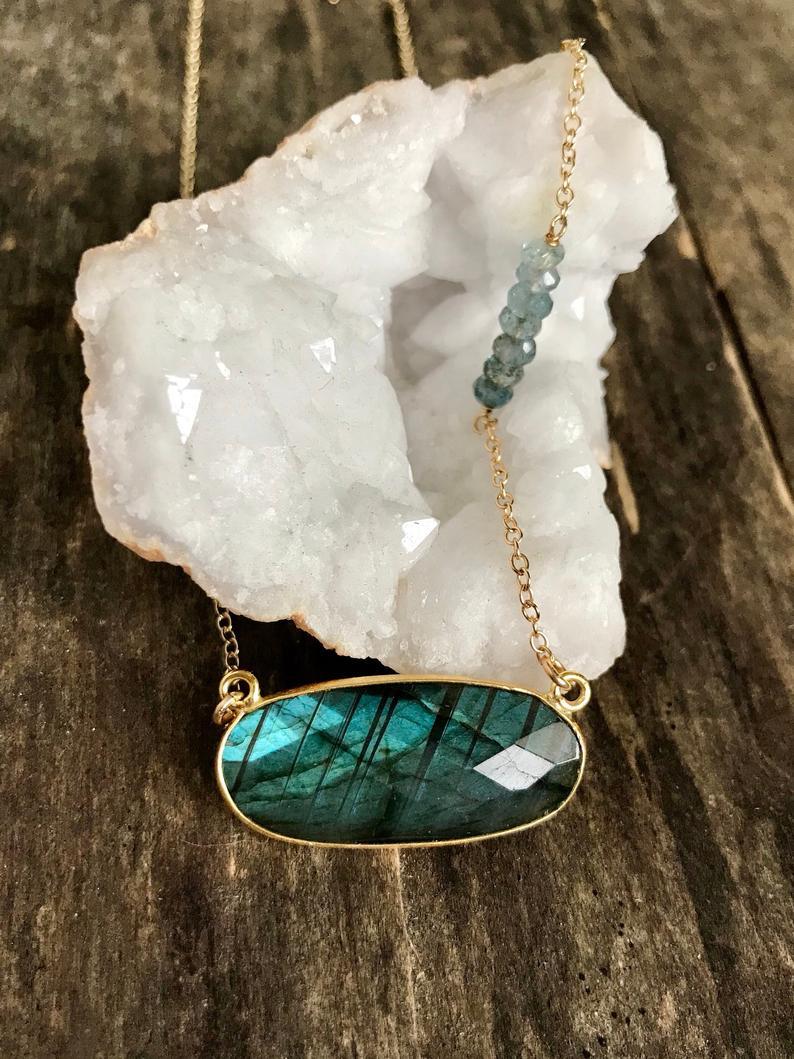 Carved Aquamarine Pendant March Birthstone Aquamarine Necklace Handmade Delicate Gemstone Necklace