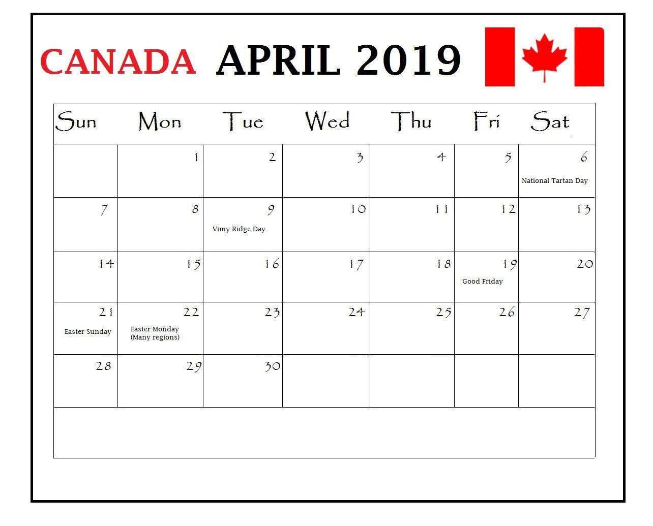 April 2019 Canada Holidays Calendar april april2019