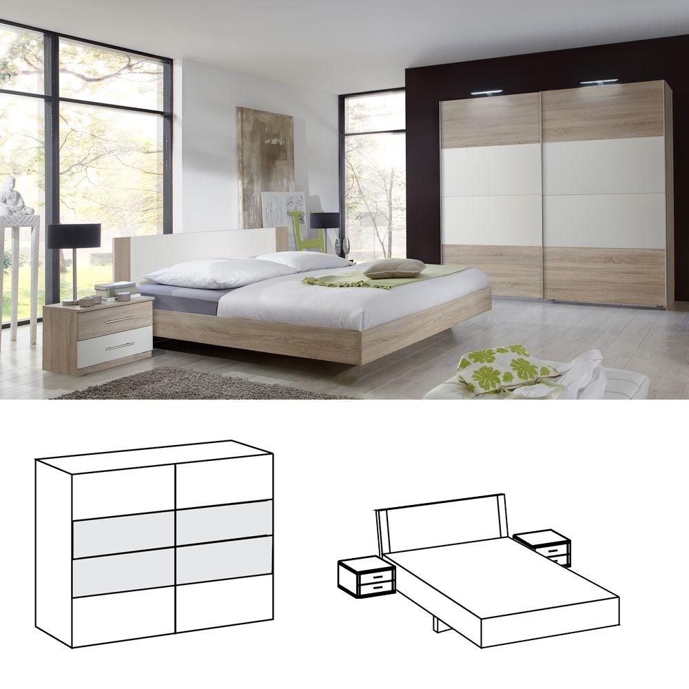 Schlafzimmer Franziska 3tlg. Bett 160x200 Eiche sägerau weiß Jetzt ...