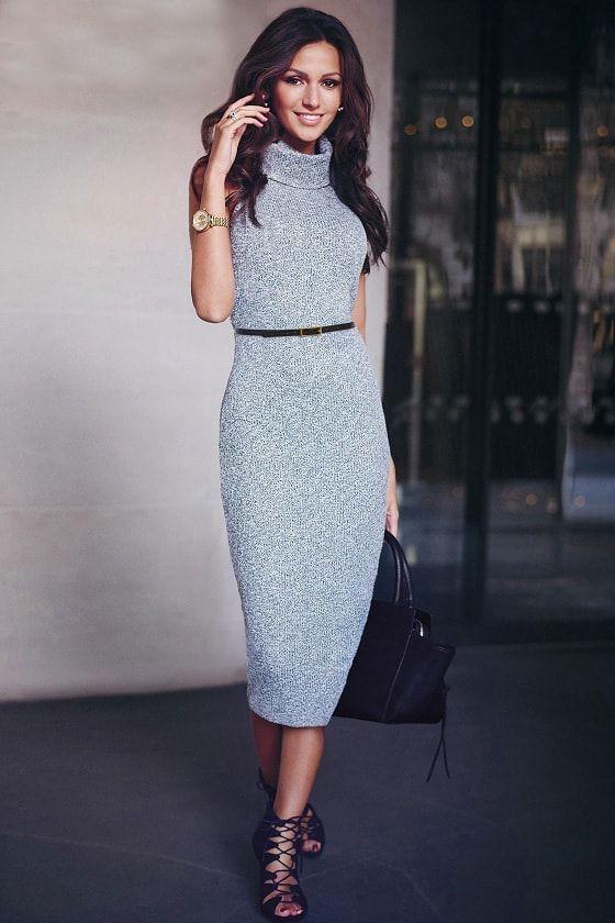 Платье вязаное карандашом