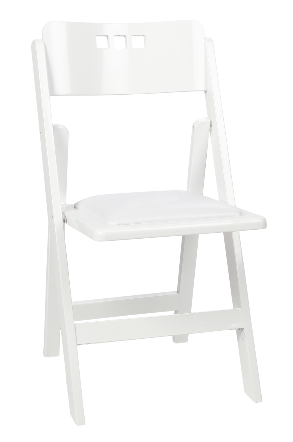 WHITE 3HOLE WOOD FOLDING CHAIR Rentals Bright Rentals