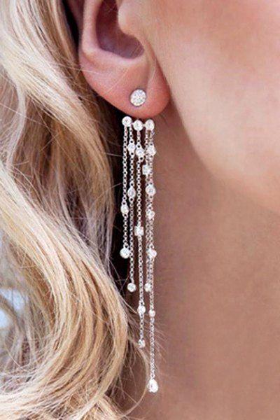 Long Style Rhinestone Tassel Earrings