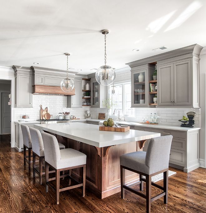 Best Light Gray With Medium Stained Wood Kitchen Design 400 x 300