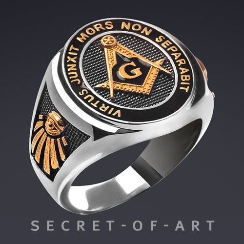 89b85214f009b Masonic Ring Freemason Silver 925, All seeing eye, with 24K-Gold ...