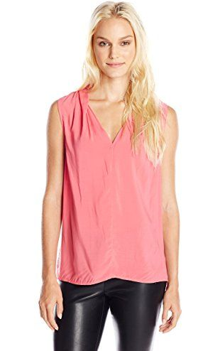 724195e82a6ed2 VELVET BY GRAHAM   SPENCER Women s Rayon Challis Sleeveless Blouse ...