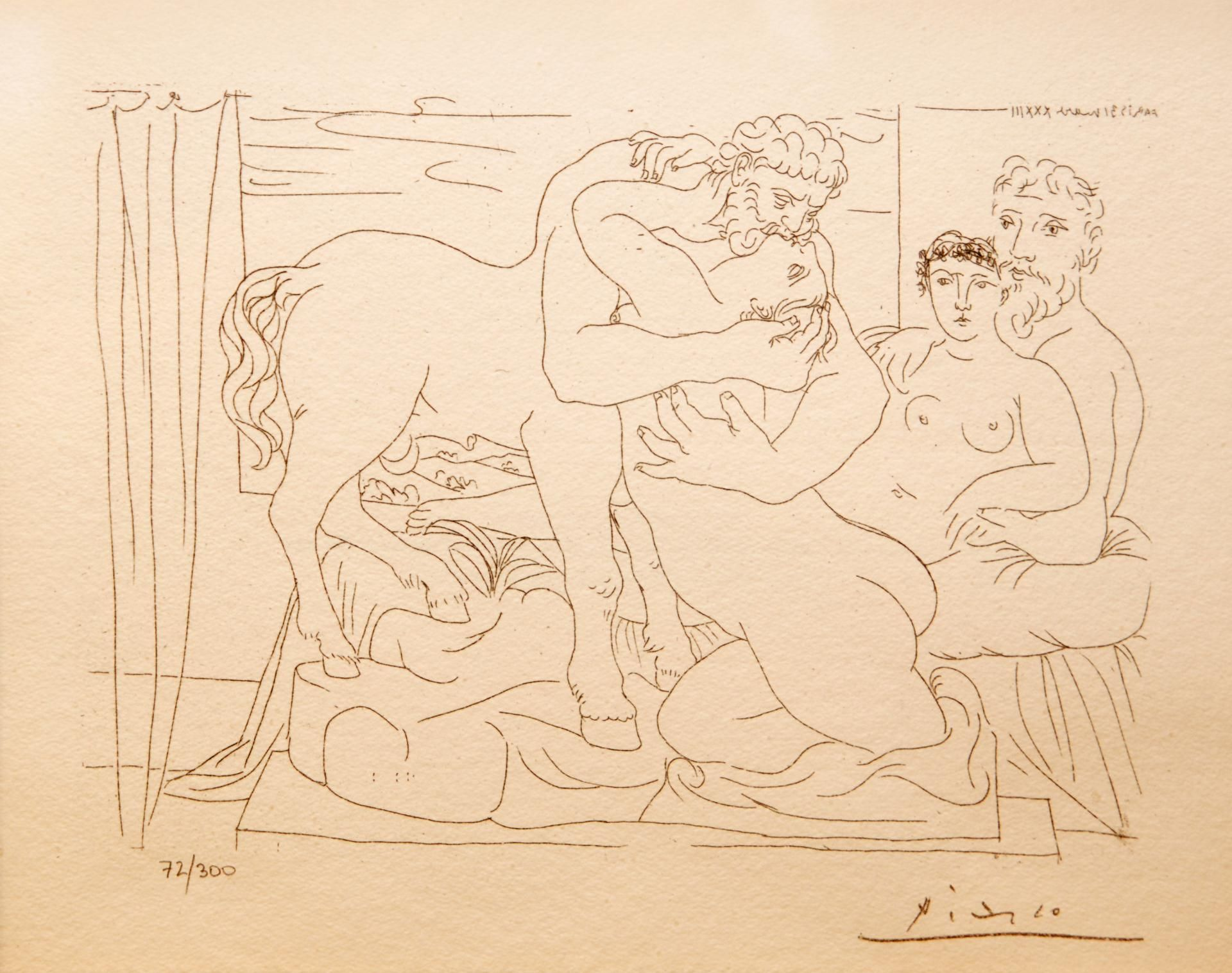 Contour Line Drawing Picasso : Pablo picasso spanish  lithograph depicting centaur