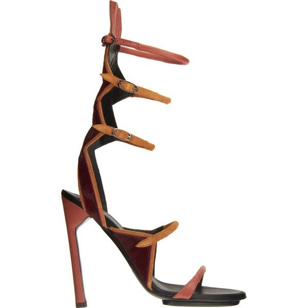 Proenza Schouler Multi-Strap Sandal ($469) ❤ liked on Polyvore featuring shoes, sandals, women, red fringe sandals, high heeled footwear, red fringe shoes, fringe high heel sandals and red sandals