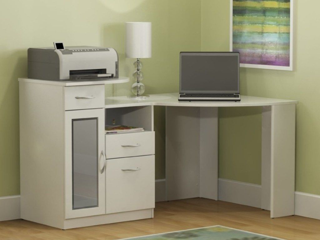 office desk with drawers small corner computer target in white and