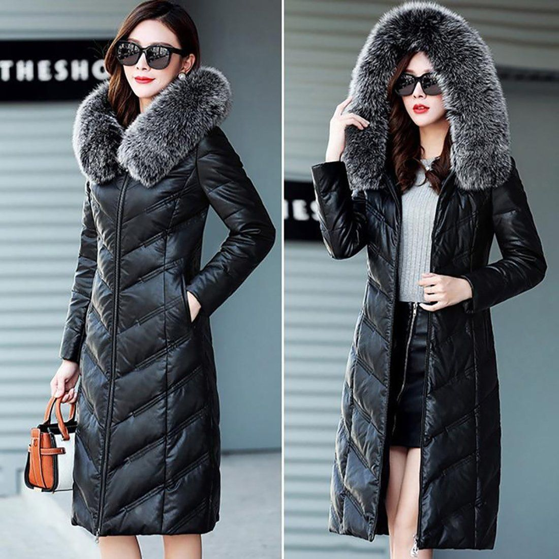 Women's Leather Jacket Down Large Size Fox Fur Collar Slim