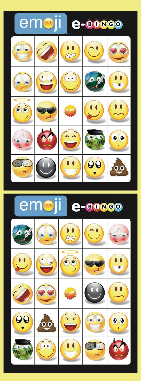 Emoji Bingo Cards 14 Unique Cards With Extra Large Calling Cards For Little Hands Instant Digital Download Affiliate With Images Emoji Party