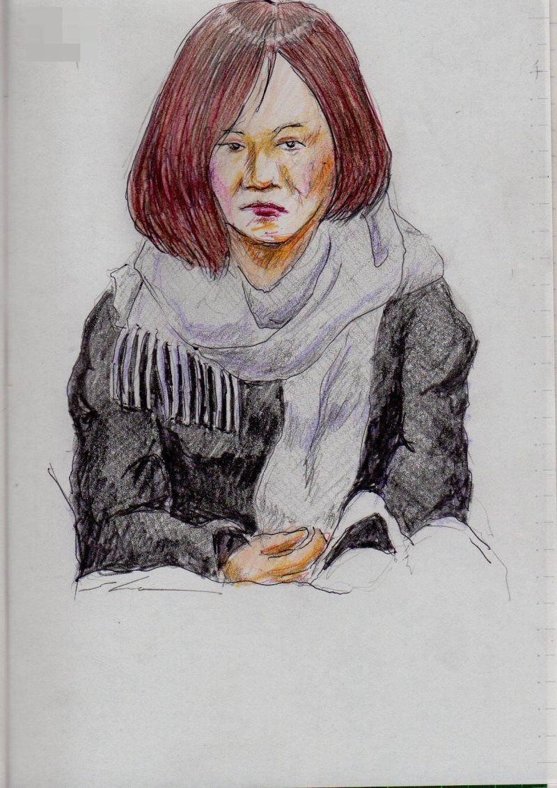 グレーのマフラーのお姉さん It is a sketch of the woman of the muffler of gray.  I drew on the train going to work.