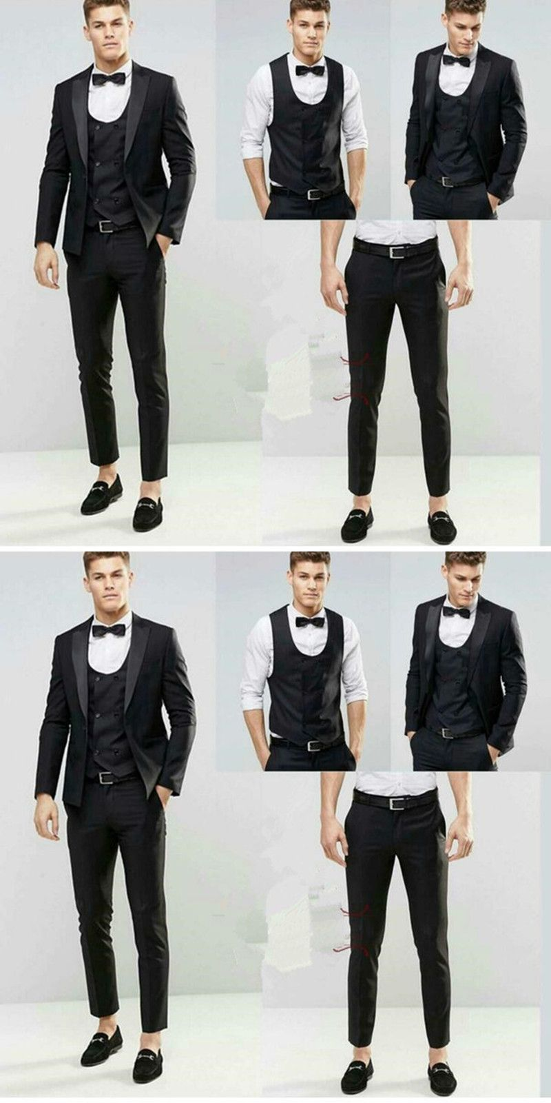 Latest Coat Pant Design 2017 Black Wedding Groom Men Suit Tuxedos