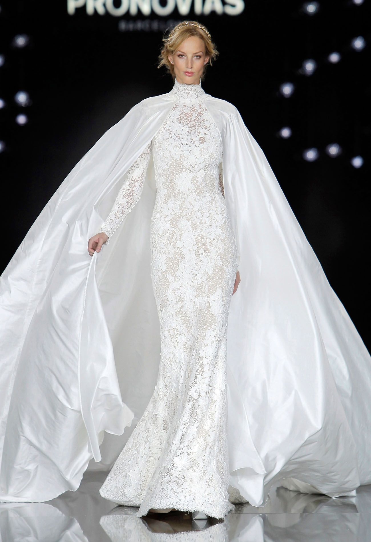 Pronovias runway show from barcelona bridal week bridal cape