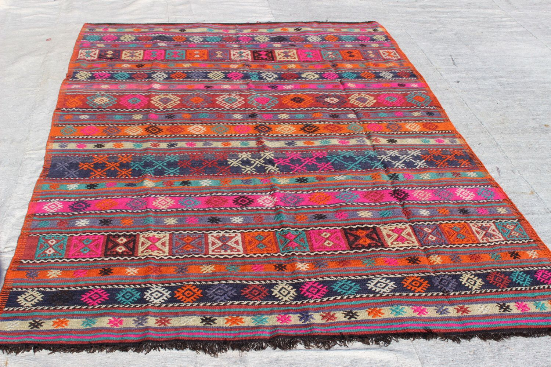 "Pink Kilim Rug,8.2""x5.3"" Feet,250x162 cm,Handwoven Rug,Bohemian Rug,Ethnic Rug,Vintage Home Decor,Tribal Rug,Ethnic Rug by Ibracraft on Etsy https://www.etsy.com/listing/485490304/pink-kilim-rug82x53-feet250x162"