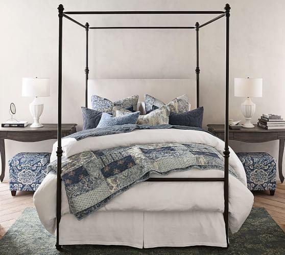 Best Antonia Metal Canopy Bed Queen Aged Bronze Finish 640 x 480
