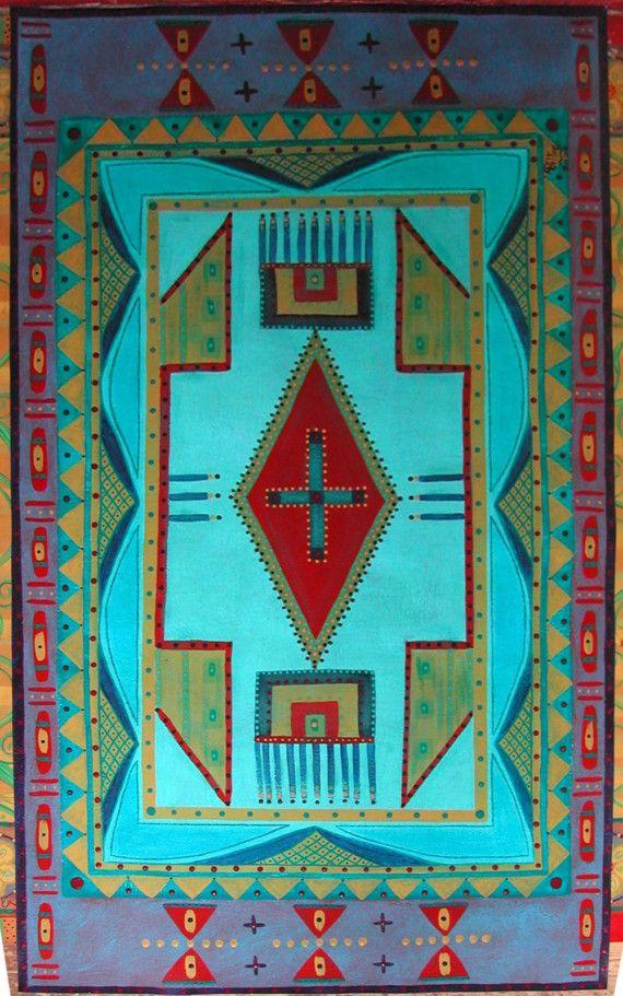 Hand Painted Canvas Floor Cloth Blackfeet Indian Bead