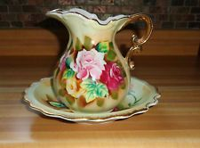 Vintage Porcelain Pitcher Bowl Red Pink Yellow Roses