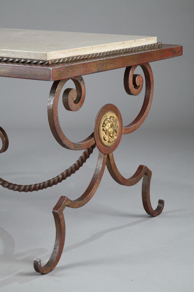 Table Basse En Fer Forge Et En Marbre A Dorures 1950s 9 Stol