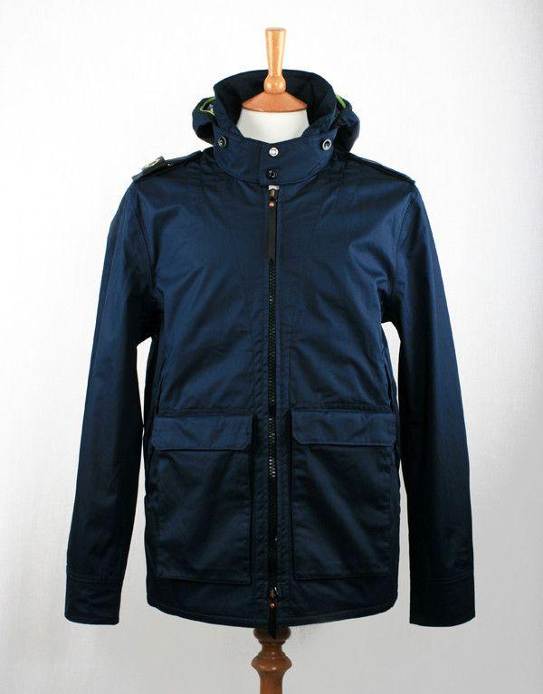 Ma.Strum Three Layer Cotton Sateen Camp Jacket - Cool Navy Blue