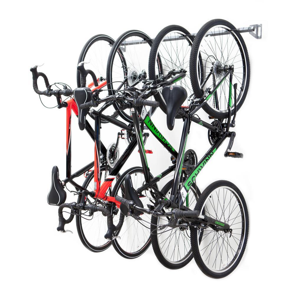 Monkey Bars 51 In 4 Bike Storage Rack 01004 The Home Depot Bike Storage Garage Bike Storage Rack Bike Rack Garage