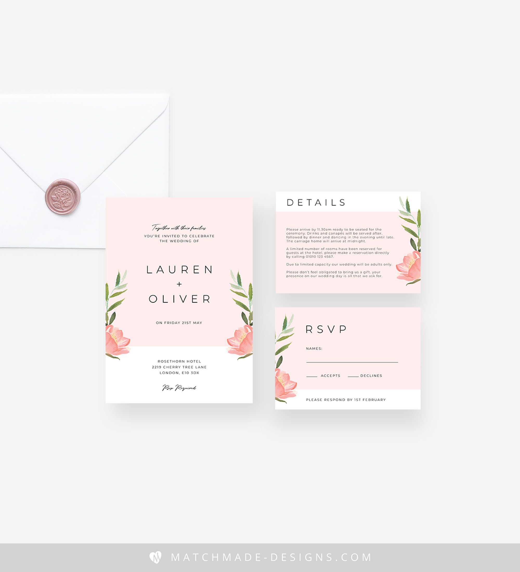 Modern Blush Wedding Invitation Template, Printable Floral Wedding Invitation Suite Download, Editable Pink Wedding Invite Set Templett