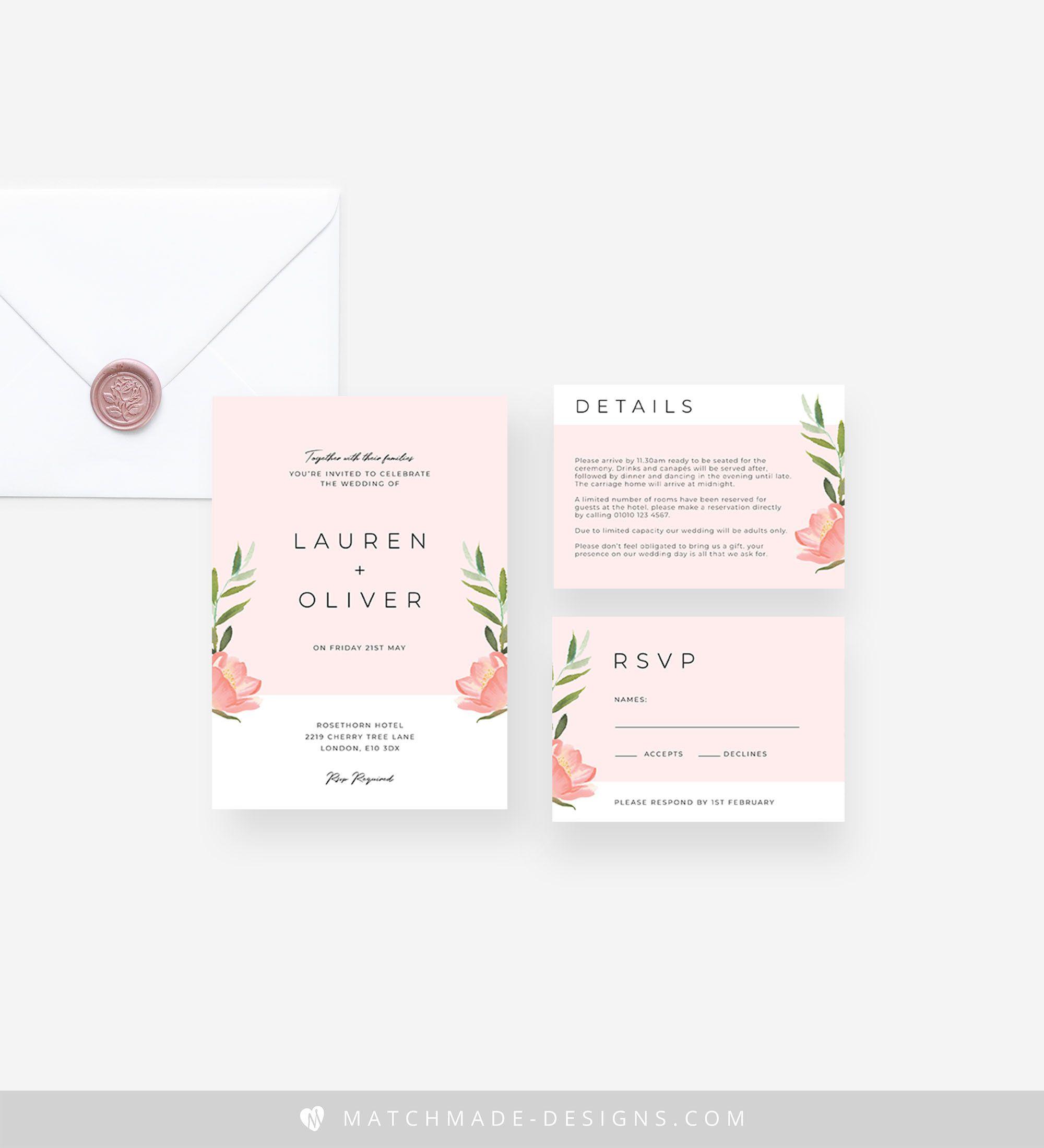 Modern Blush Wedding Invitation Template, Printable Floral Wedding Invitation Suite Download, Editable Pink Wedding Invite Set Templett