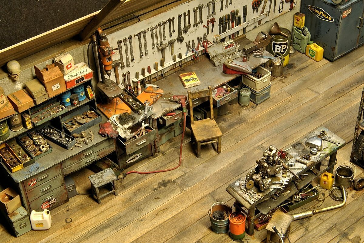 Garage shop maquettes pinterest for Garage workshop pictures