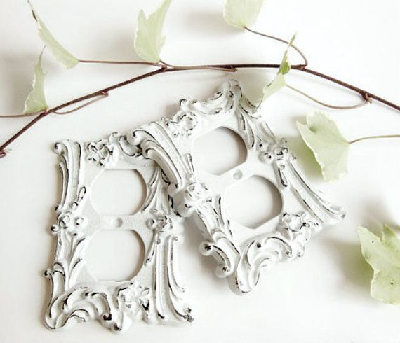 2 White Metal Light Switch Covers, Distressed Ornate Vintage Industrial Home Supplies Set