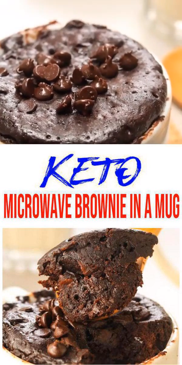 Keto Brownie Mug Cake! Easy low carb keto mug brownie recipe. BEST chocolate brownie microwave keto mug cake. A few simple keto friendly ingredients to make this gluten free, sugar free mug brownie. Fudgy Chocolate Keto Brownies! Simple & quick keto dessert recipes with this brownie. Yummy microwave brownie mug cake for ketogenic diet. #keto #lowcarb #chocolate brownie - skip the fat bombs for these brownies! Try this low carb mug brownie cake today - click for this favorite keto food recipe :) #ketodessert