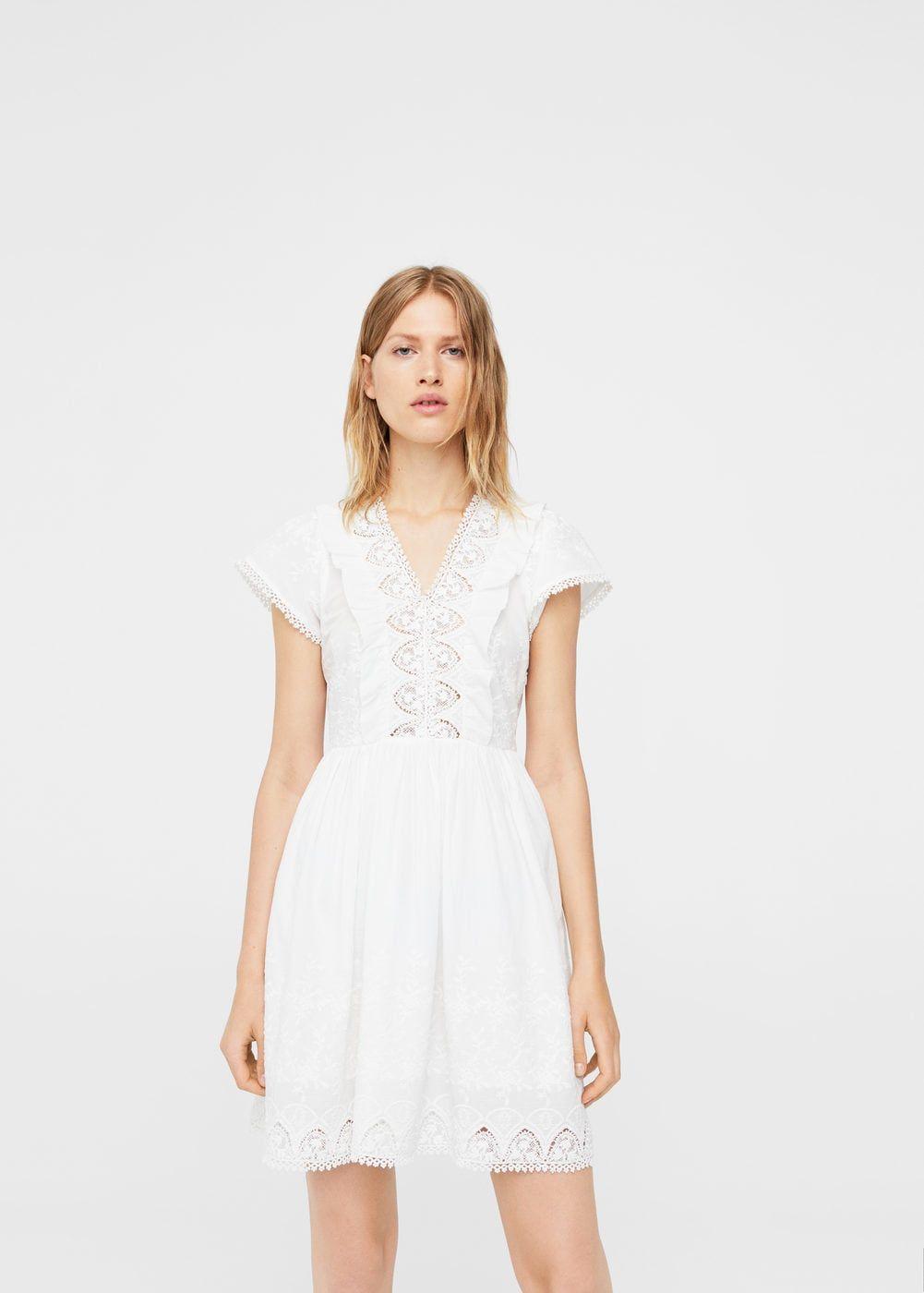 kleid mit besticktem einsatz - damen   freizeitkleider