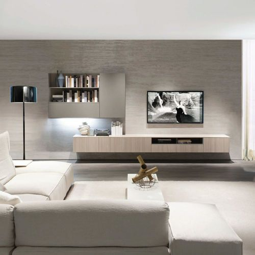 Contemporary tv wall unit elm melamine z409 zalf for the home pinterest muebles salon - Wohnwand schwebend ...