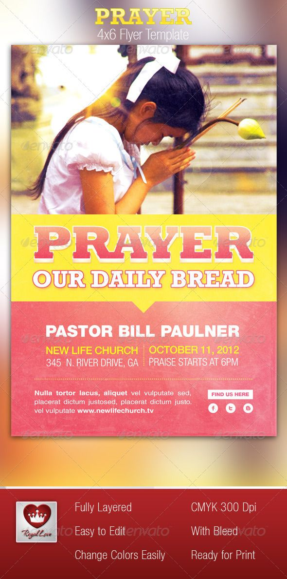 This Prayer Flyer Template is customized for any Contemporary Church