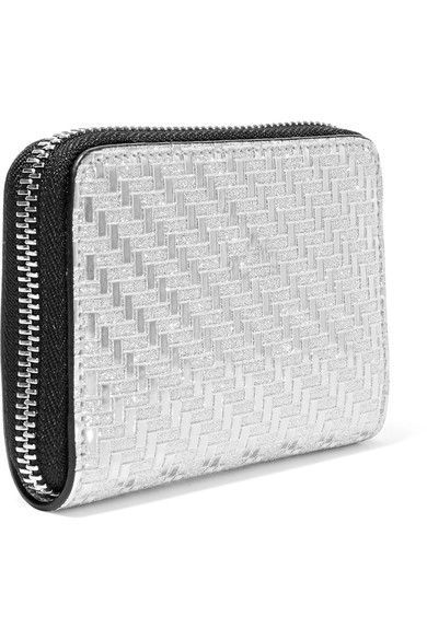 Panettone Spiked Glittered Metallic Leather Wallet - Silver Christian Louboutin 37Rxrto5