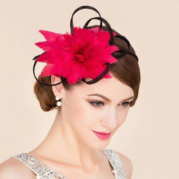 $5.68 Elegant Red Feathered Flower Bridal Fascinator Wedding Tea Party Cocktails…