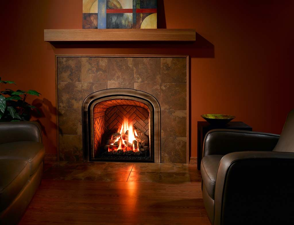 Furniture Breathtaking Superior Gas Log Fireplace With Herringbone Fireplace  Liner Also Abstract Painting Above Hanging Fireplace Mantel Shelf Alongside  ...