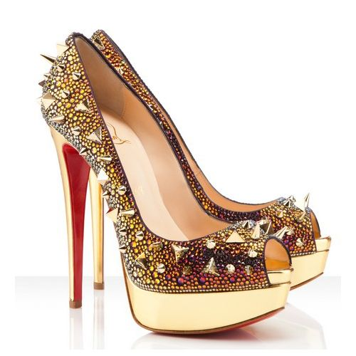 christian louboutin gold high heels