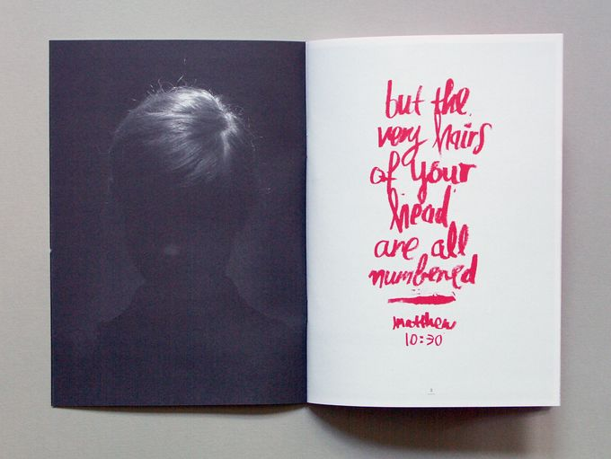 This is hand rendered type which looks like handwriting. I like how they have used a red felt tip pen rather than just a black one which makes the text stand out more and draws attention to the image on the black background on the left side. This double page gives a mystery feeling to it and makes you want to read more, which is what I need my fanzine to do, keep the attention of the reader.