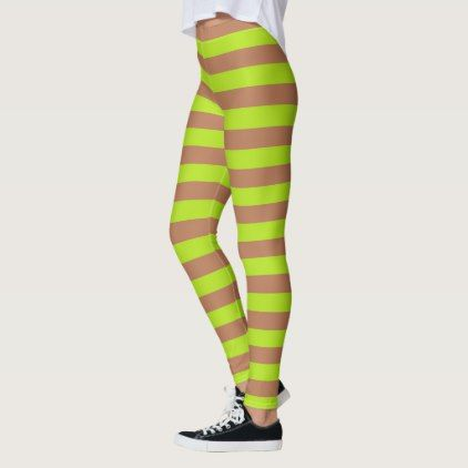 fcfe1791f7402 Lime Green and Brown Stripes Leggings - stripes gifts cyo unique style