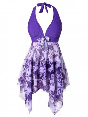 70be455a17737 Plus Size Halter Printed Backless Skirted Tankini Set - PURPLE - 1X ...