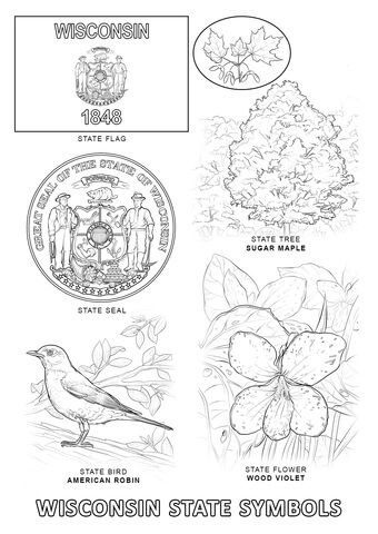 Wisconsin State Symbols Coloring Page From Wisconsin Category