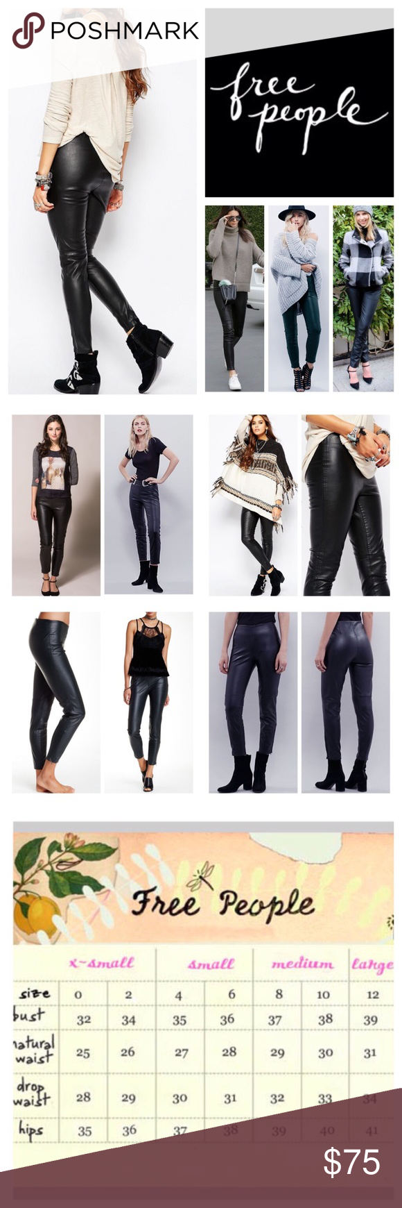 "Free People Black Vegan Leather Leggings.  NWT. Free People Black Vegan Leather Leggings, 100% polyurethane, machine washable, 26"" elactercized waist which stretches up to 30"" 8.5"" front rise, 14"" back rise, 27"" inseam, 10"" leg opening, 5.5"" side ankle zip, authentic looking vegan leather leggings featuring a flat front and back pockets, elactercized waist, concealed side zip closure, seam detail, skinny fit,mmeasurements are approx.  NO TRADES Free People Pants Leggings"